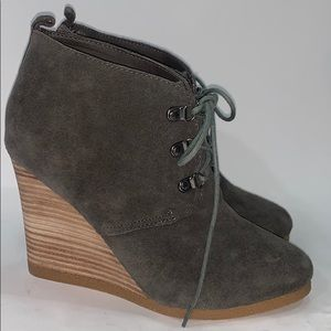 Express gray suede wedge ankle boots size 8.5